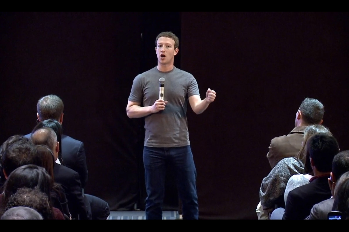 Mark Zuckerberg speaking at Facebook's third town hall event in Colombia.