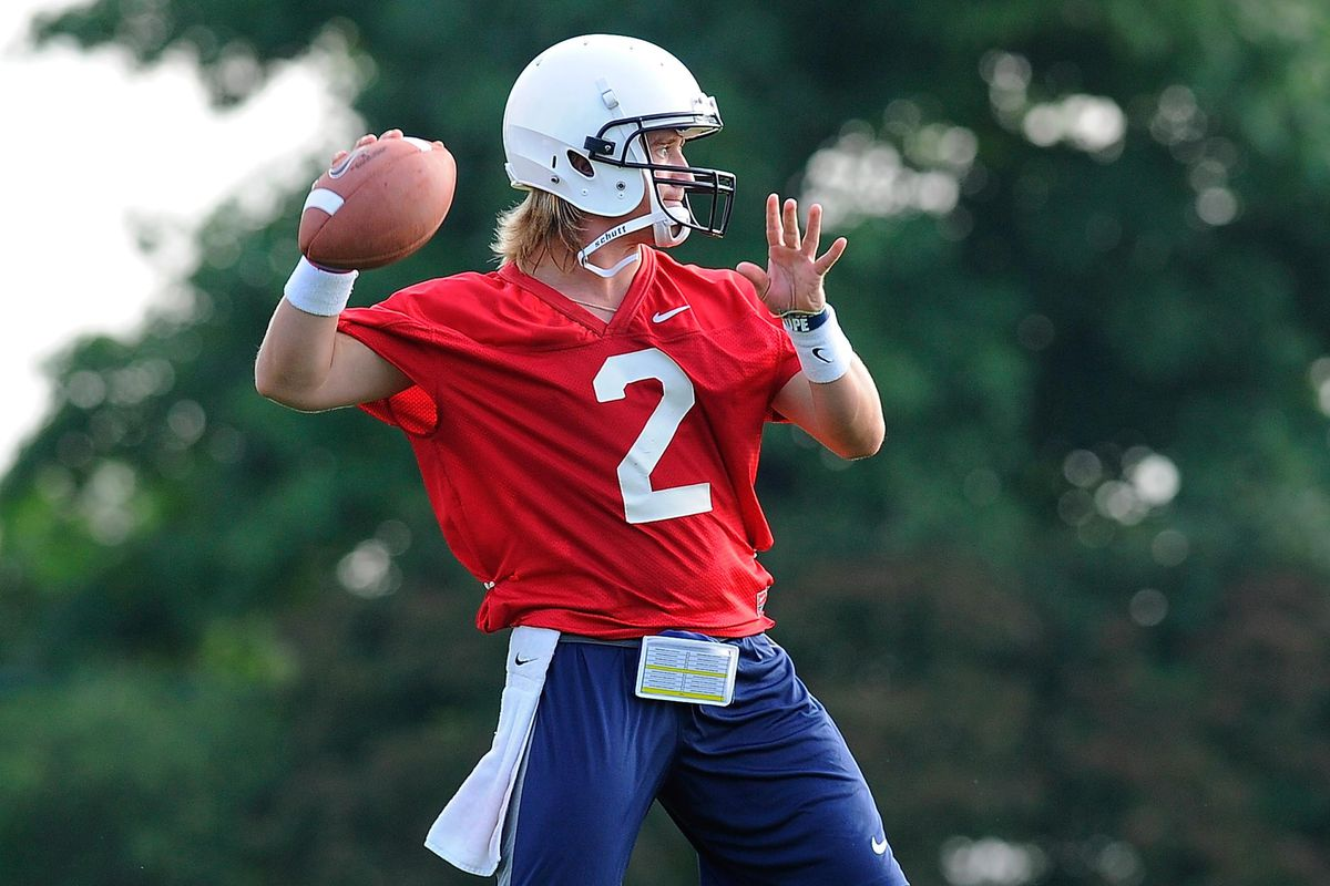Aug 6, 2012; University Park, PA, USA; Penn State Nittany Lions quarterback Shane McGregor (2) prepares to throw a pass during practice at the Lasch Football Building practice fields. Mandatory Credit: Rich Barnes-US PRESSWIRE