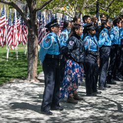 Salt Lake City Police Department Explorers attendthe annual Utah Police Memorial Service at the Capitol in Salt Lake City on Thursday, May 6, 2021. During the service, police officers, family, friends and community leaders honored the 147 Utah police officers killed in the line of duty.