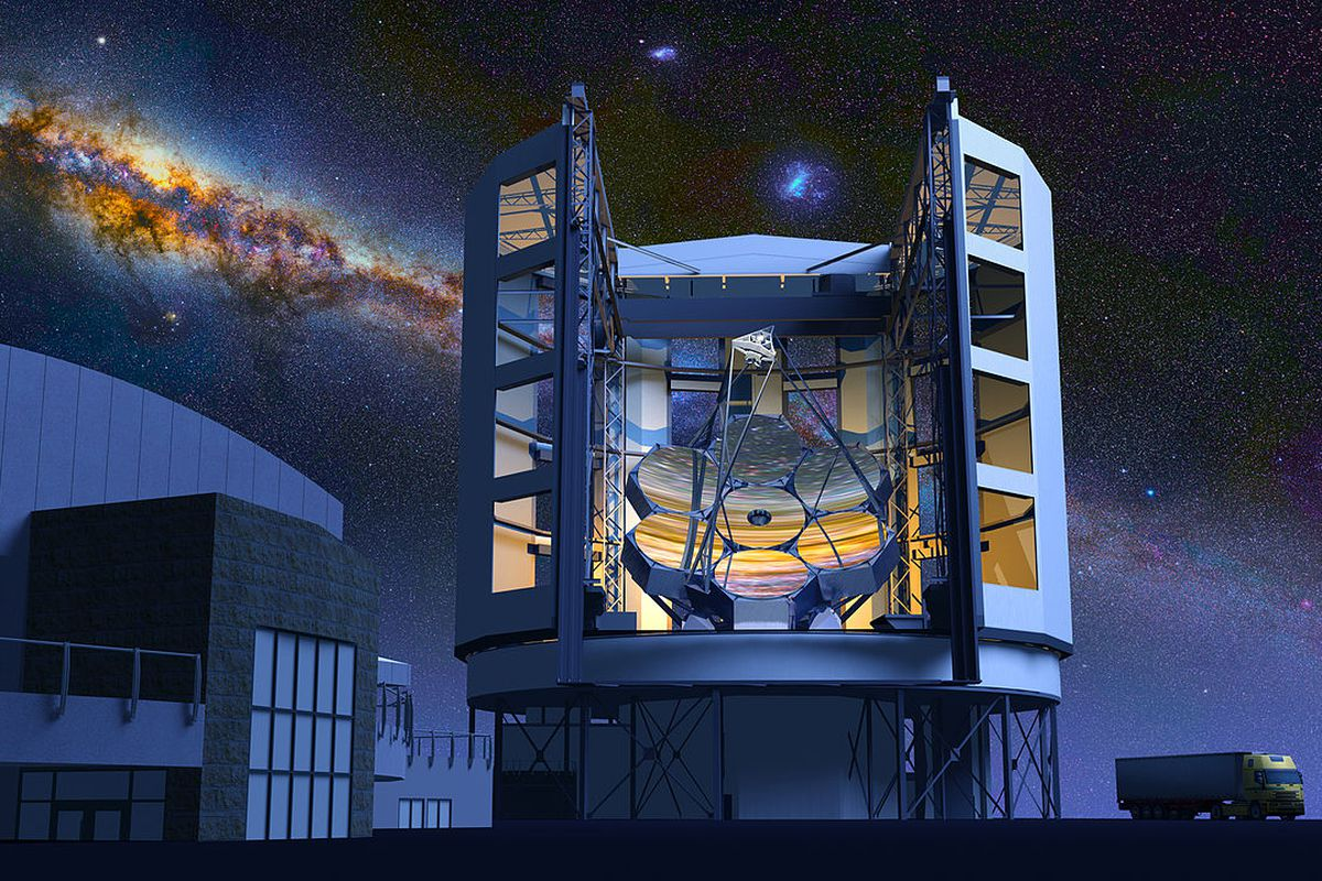 An illustration of the Giant Magellan Telescope to be built in Chile.