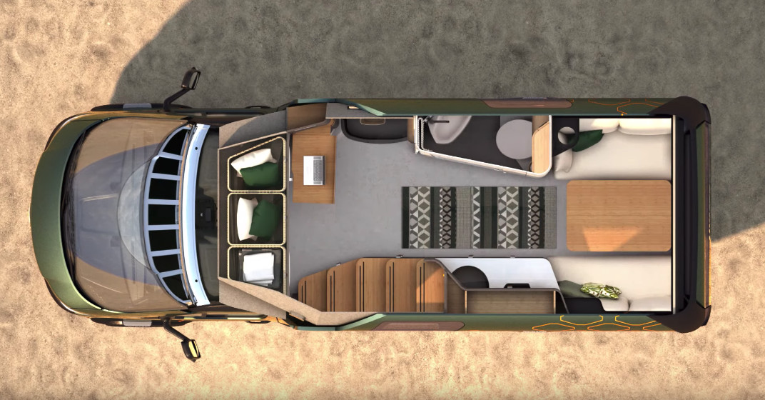 An aerial rendering of the camper van's lower floorplan includes the bathroom, rear seating area, and front cabin seats.