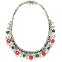 """This Weiss faux emerald rhinestone and pink bead necklace, estimated at $80 to $120, reminds us of the new """"Diva"""" collection from Bulgari. This is a good thing."""