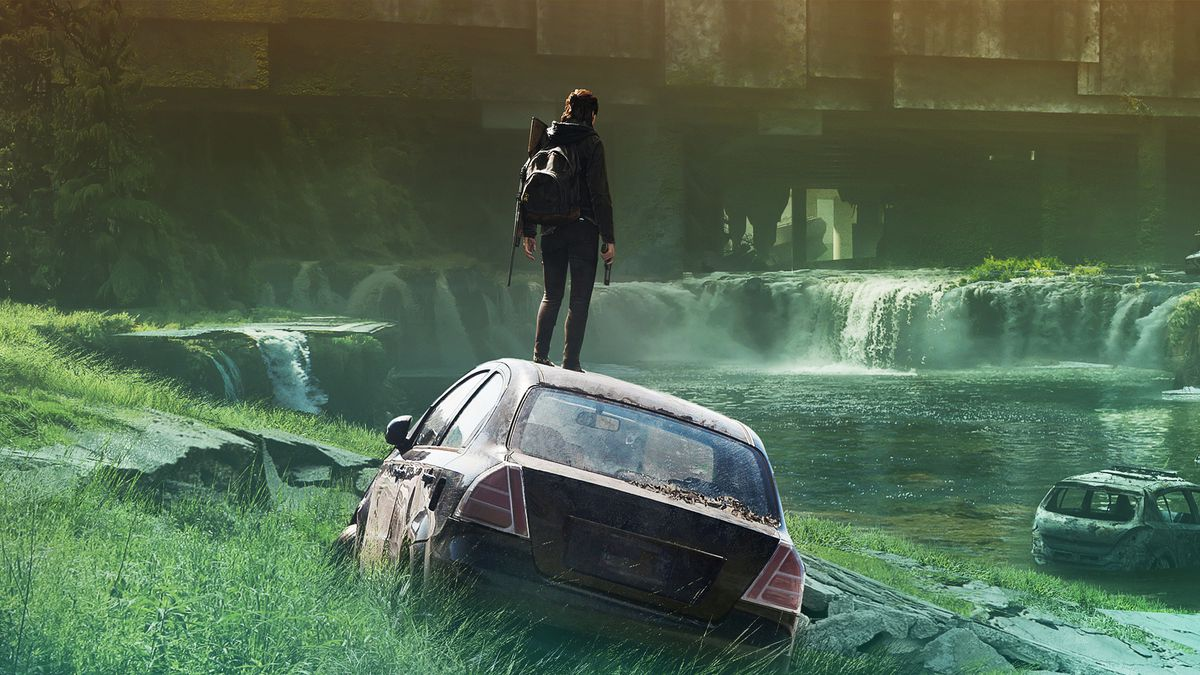 Woman with backpack and holding a pistol stands on the roof of an abandoned car in a ruined city