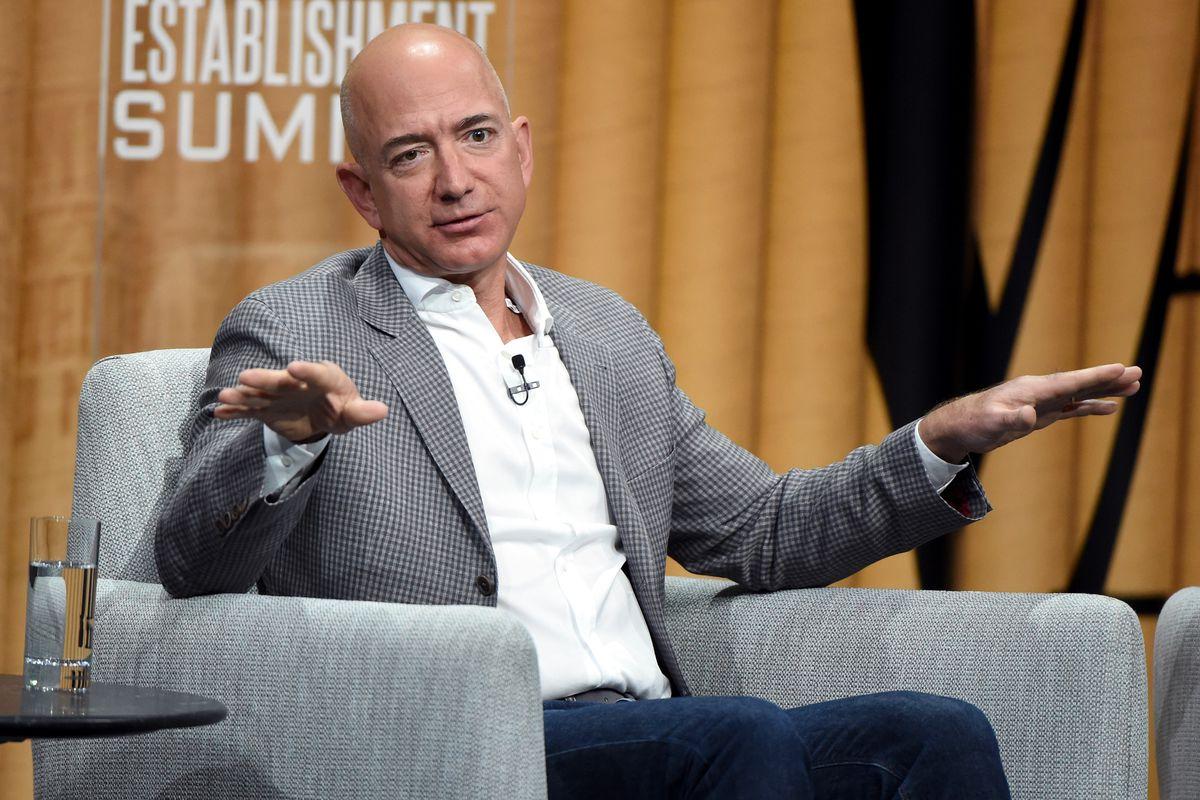 Amazon CEO Jeff Bezos onstage at a Vanity Fair event