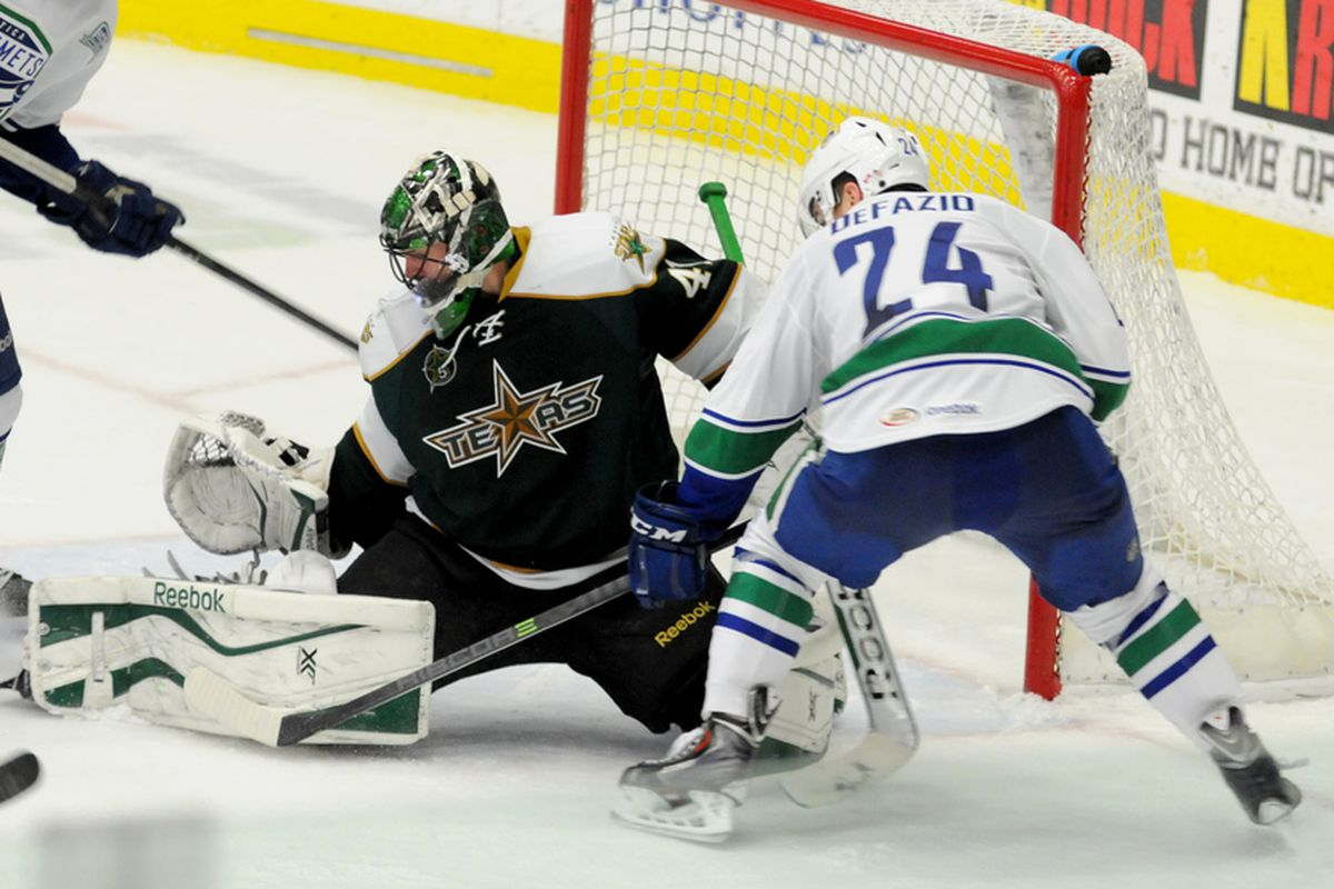 Cristopher Nilstorp defends the net against the Utica Comets.