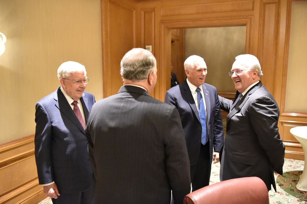 Vice President Mike Pence, center right, meets with Elder Jack N. Gerard, a General Authority Seventy of The Church of Jesus Christ of Latter-day Saints, right, President M. Russell Ballard, acting president of the Quorum of the Twelve Apostles, left, and Elder Ronald A. Rasband, a member of the Quorum of the Twelve Apostles, center, at the Grand America Hotel in Salt Lake City on Aug. 22, 2019.