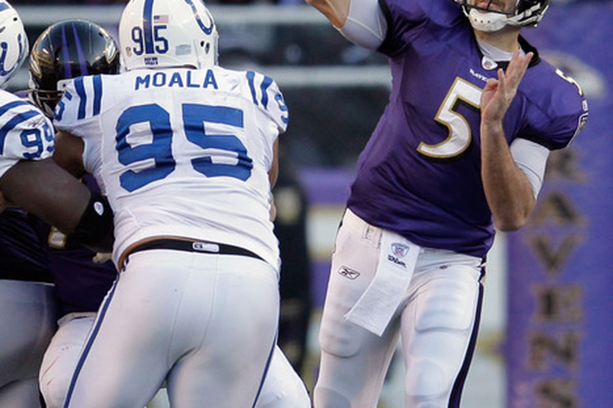 BALTIMORE, MD - DECEMBER 11:  Joe Flacco #5 of the Baltimore Ravens throws a pass against the Indianapolis Colts during the second half at M&T Bank Stadium on December 11, 2011 in Baltimore, Maryland.  (Photo by Rob Carr/Getty Images)