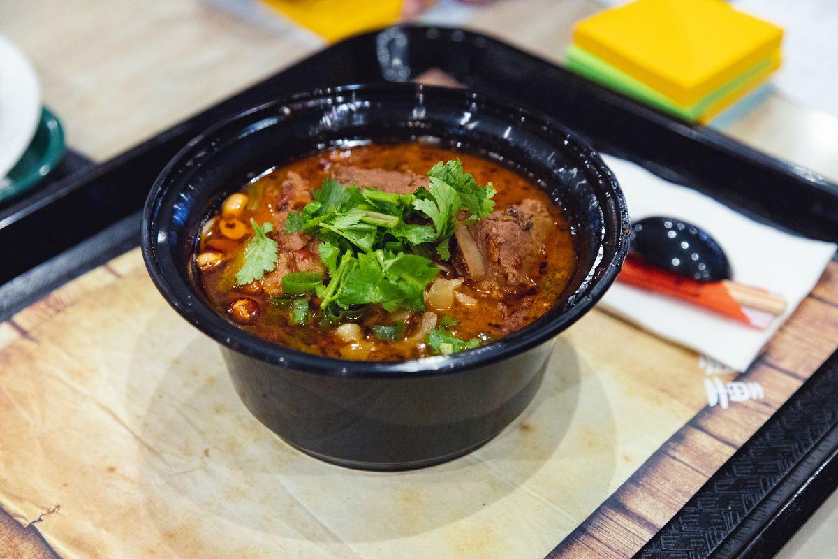 Braised rib noodles at Chong Qing