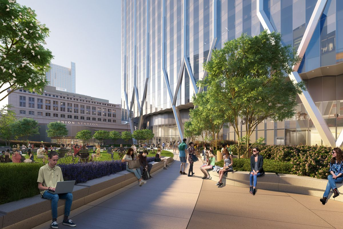 A rendering of a privately-owned, public park outside the office tower.