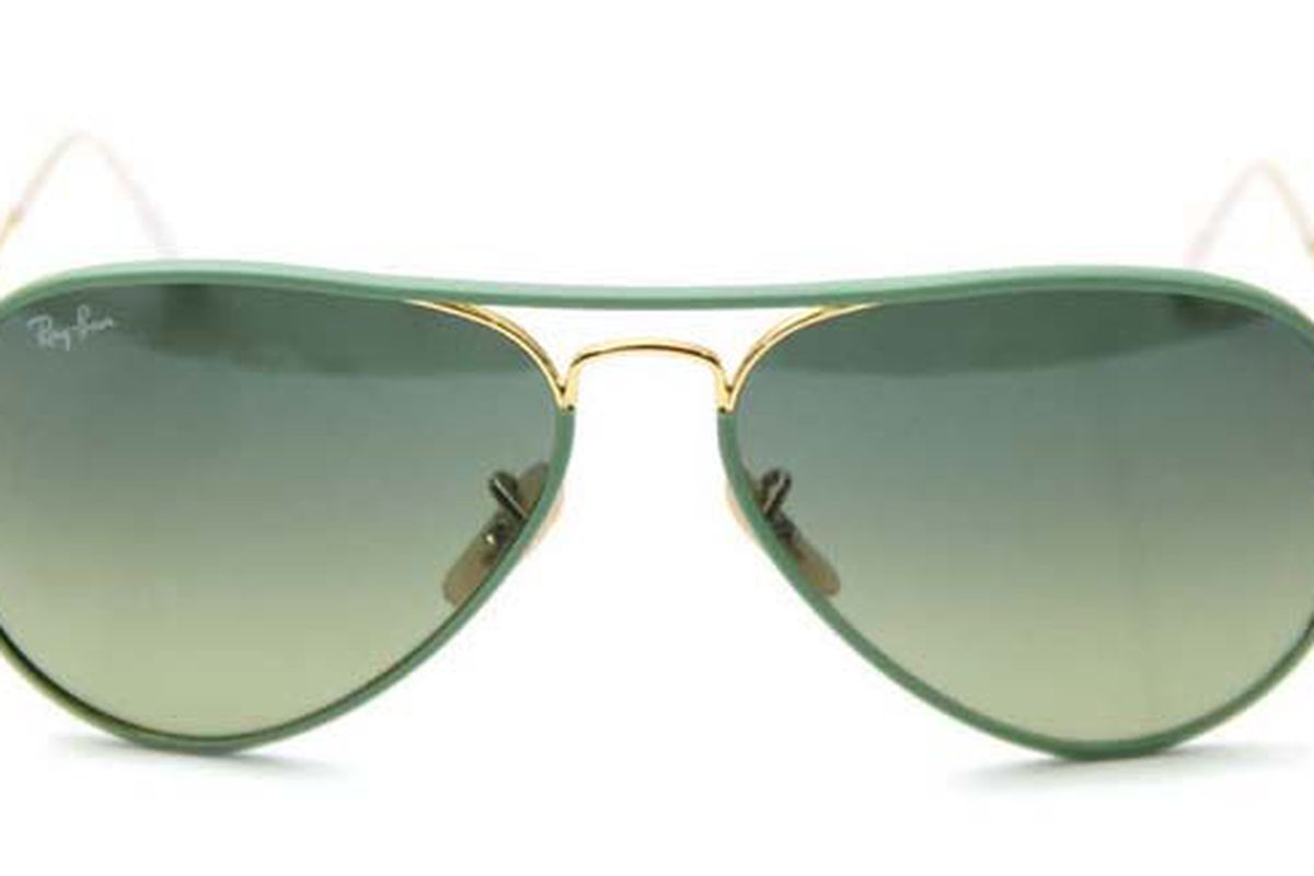 """Ray-Ban Full Color Aviator, <a href=""""http://curatedbythetannery.com/collections/ray-ban/products/aviator-full-color-2"""">$180</a> at The Tannery"""