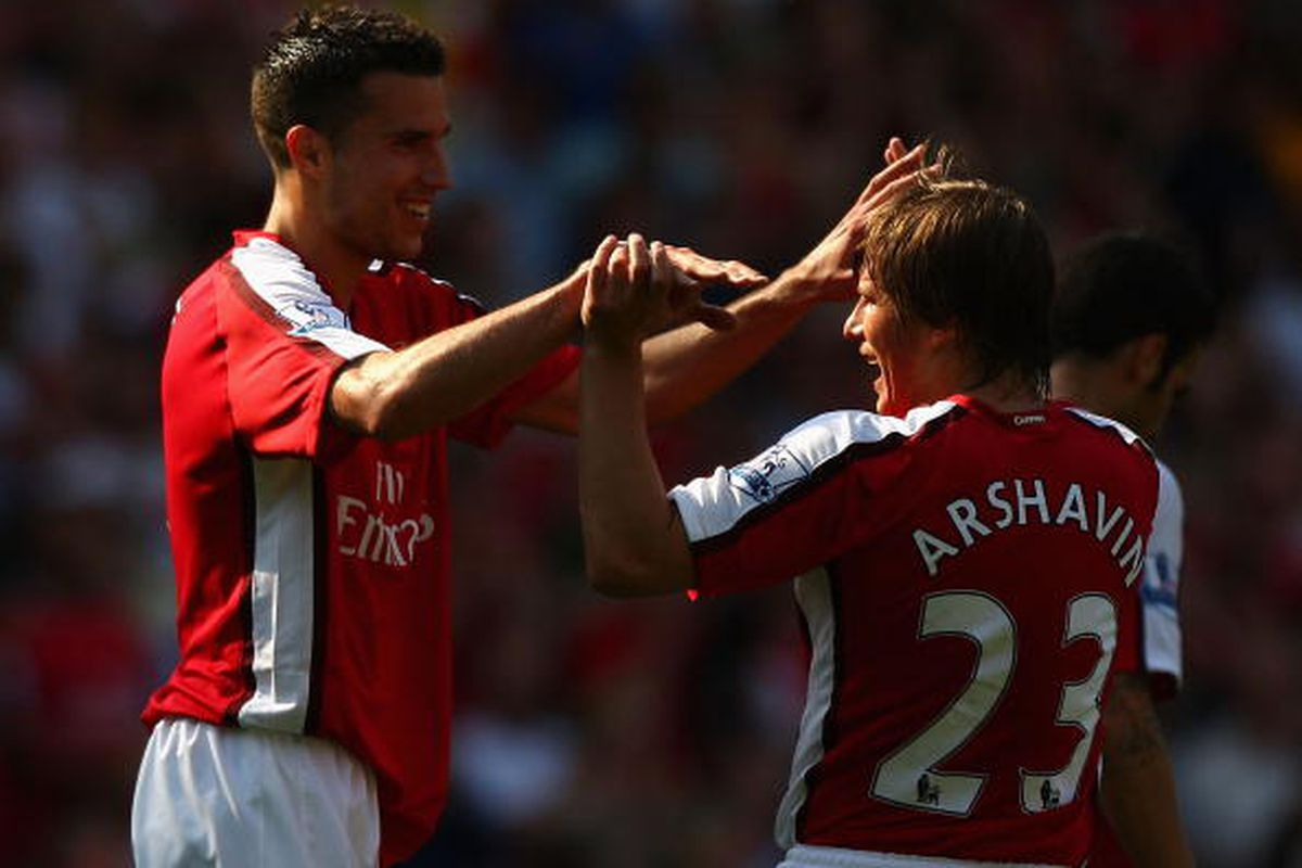 Andrei Arshavin and Robin van Persie May 24th 2009 for Arsenal against Stoke City. Photo via Getty Images