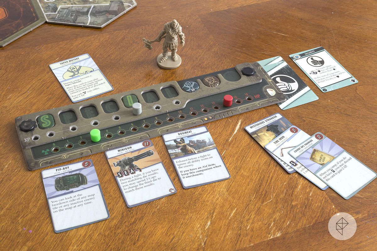 The character sideboard for each player includes tactile pegs to mark progress, as well as slots for equipment, followers and status tokens.