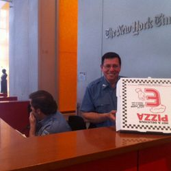 The security guard at the NYT building got a free Eater Pizza.