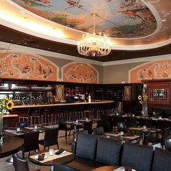 Whimsical commissioned frescos and costumed Venetian figures dance along the dining room and the ceiling at this Marina restaurant, owned by Bay Area pastry master, Gary Rulli, who turned this space from a quaint café into full-blown restaurant in mid 201