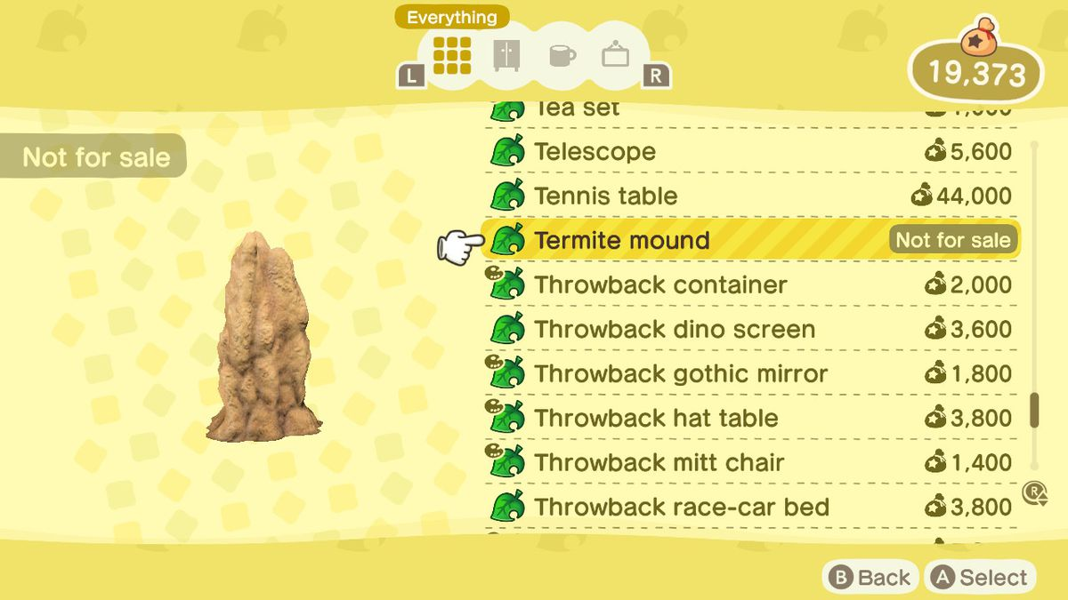 An Animal Crossing: New Horizons shop menu for a Termite Mound