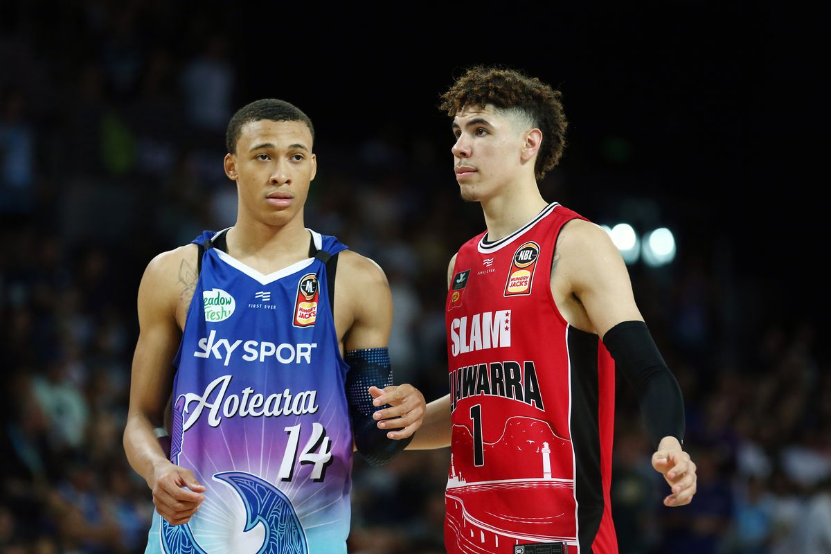LaMelo Ball of the Hawks and RJ Hampton of the Breakers during the round 9 NBL match between the New Zealand Breakers and the Illawarra Hawks at Spark Arena on November 30, 2019 in Auckland, New Zealand.
