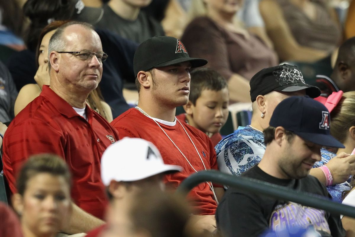 Last year's first-round pick, Stryker Trahan, in the stands at Chase Field.
