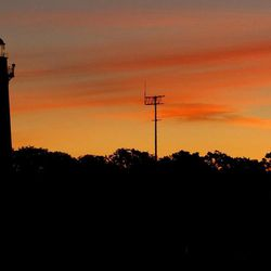 The St. Simons Island Lighthouse gleams just before sunrise in Georgia.