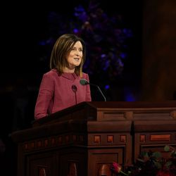 Sister Michelle Craig, first counselor in the Young Women general presidency, speaks during the Saturday morning session of the 190th Semiannual General Conference of The Church of Jesus Christ of Latter-day Saints on Oct. 3, 2020.