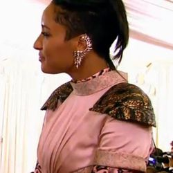 """Yes! Sweet ear cuffs are a go! Here on <a href=""""https://twitter.com/BlackFrame/status/331545837710761986/photo/1"""">Kimberly Chandler</a> and paired with Rodarte."""