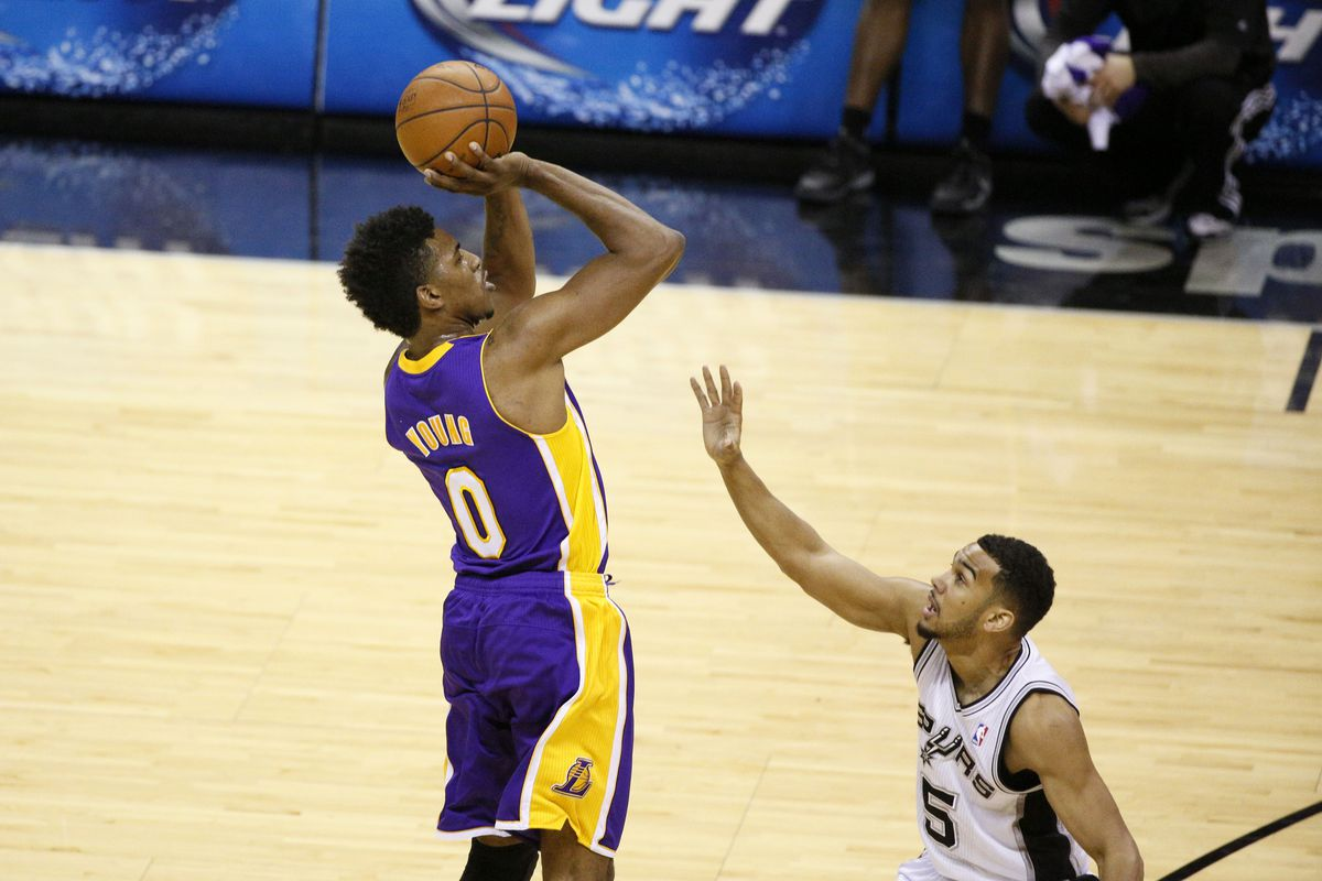 Nick Young from the center of the floor