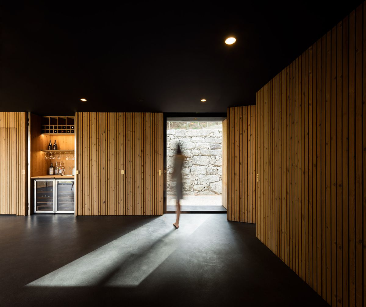 Woman standing in room with timber walls and black floor