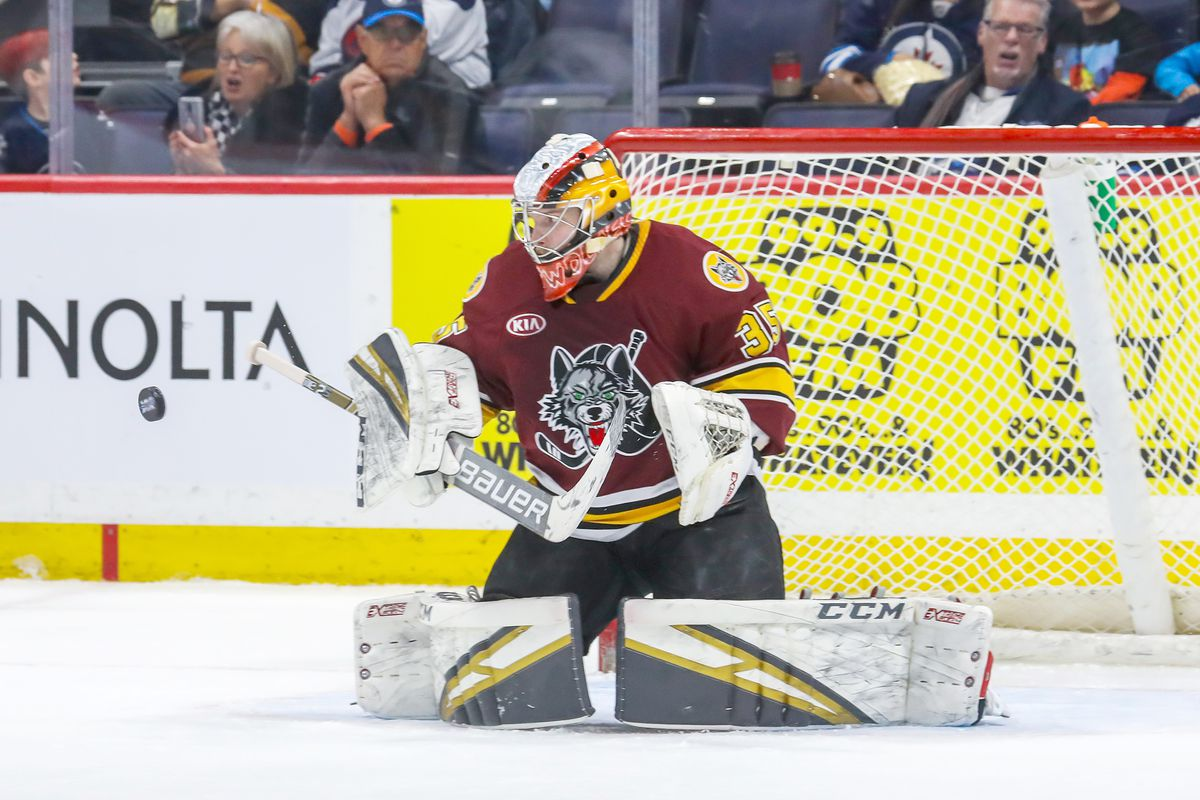Wolves goalie Oscar Dansk stopped all 25 shots he faced against the Moose to improve to 13-1-2 since the start of December.