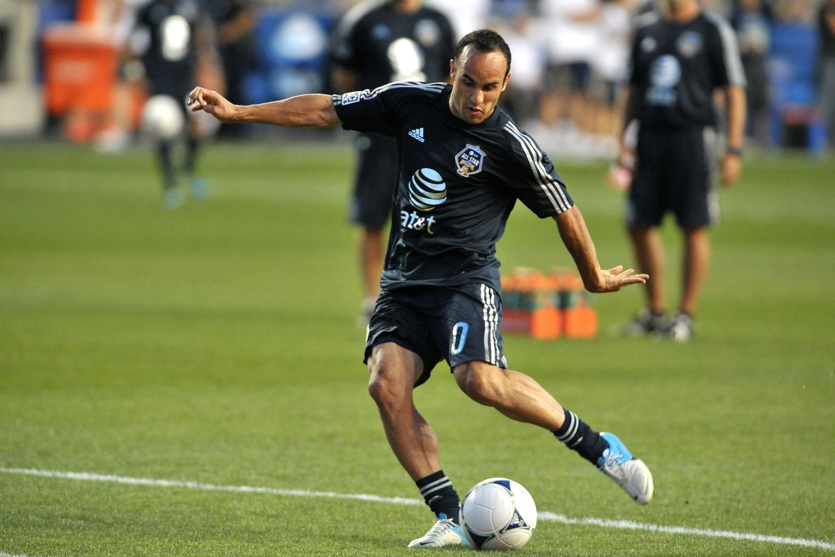 CHESTER, PA - JULY 25: Landon Donovan #10 of MLS All-Stars takes a shot during warmups before the 2012 AT&T MLS All-Star Game against Chelsea at PPL Park on July 25, 2012 in Chester, Pennsylvania.  (Photo by Drew Hallowell/Getty Images)