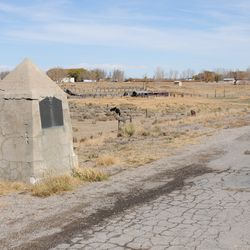 This monument commemorates the 1847 meeting of Brigham Young and Jim Bridger on the Little Sandy River in Wyoming.