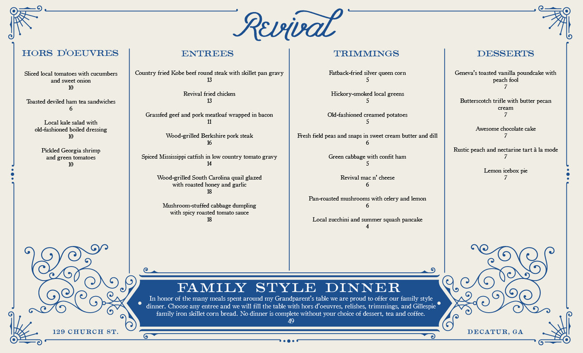 Revival menu
