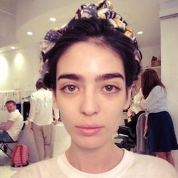 Rebecca loves my first look at the test! It is inspired by an old photo of <b>Bianca Jagger</b> in Mexico, which made Rebecca think of strong Mexican women. <b>Frida Kahlo</b> came to mind, and this beautiful model captures her vision (look at those gorge