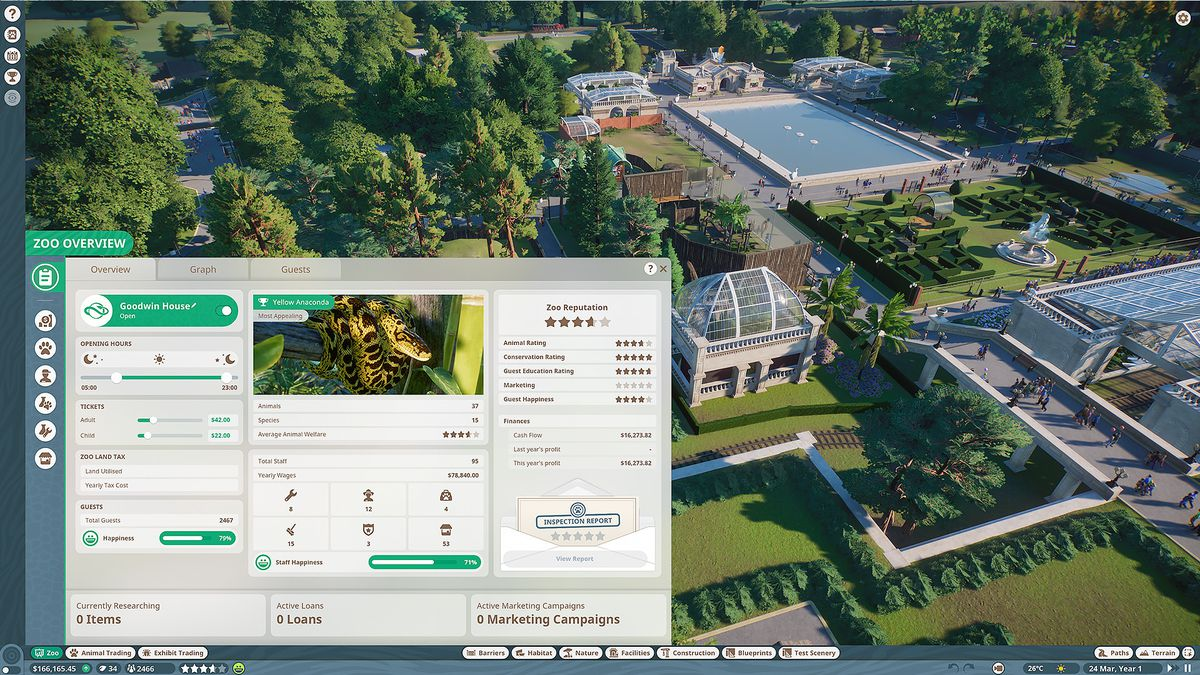 looking at the zoo overview interface in Planet Zoo