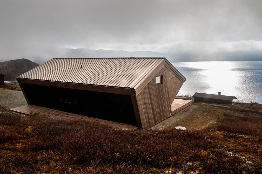 Wooden cabin by sea