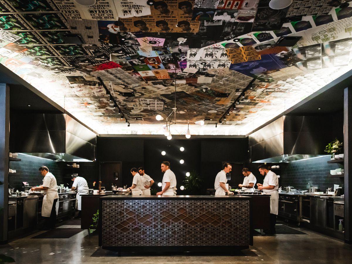An open kitchen inside a restaurant.