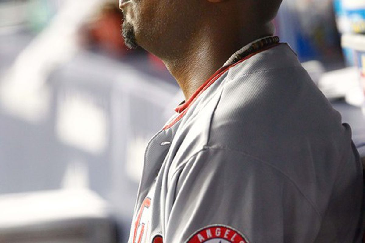 Apr. 15, 2012; Bronx, NY, USA; Los Angeles Angels starting pitcher Jerome Williams sits in the dugout after being removed from the game during the third inning against the New York Yankees at Yankee Stadium. Mandatory Credit: Debby Wong-US PRESSWIRE