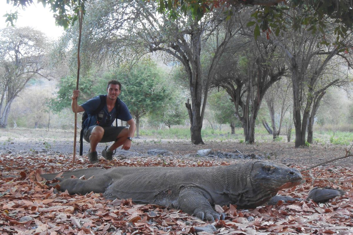 Perfect snack size - me and a 9ft Komodo Dragon!