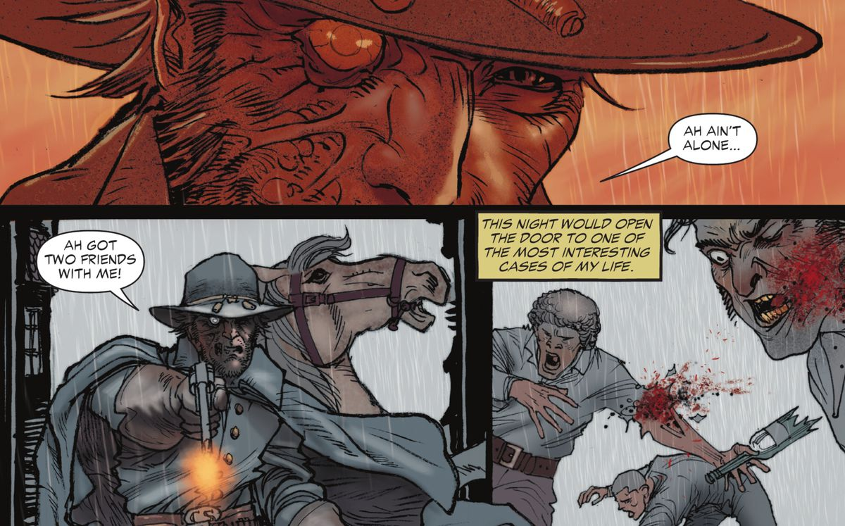 """""""Ah ain't alone..."""" growls Jonah Hex in All-Star Western #1 (2011), """"ah got two friends with me!"""" as he draws his pistols and fires on his attackers."""