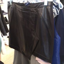 Leather front skirt, $80