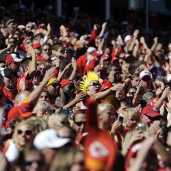 Kansas City Chiefs fans cheer before the game against the Oakland Raiders at Arrowhead Stadium. Kansas City won the game 24-7.