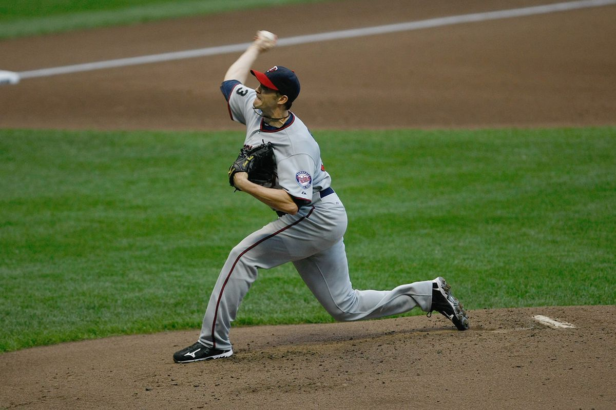 MILWAUKEE, WI - JUNE 24: Scott Baker #30 of the Minnesota Twins pitches against the Milwaukee Brewers at Miller Park on June 24, 2011 in Milwaukee, Wisconsin. (Photo by Scott Boehm/Getty Images)