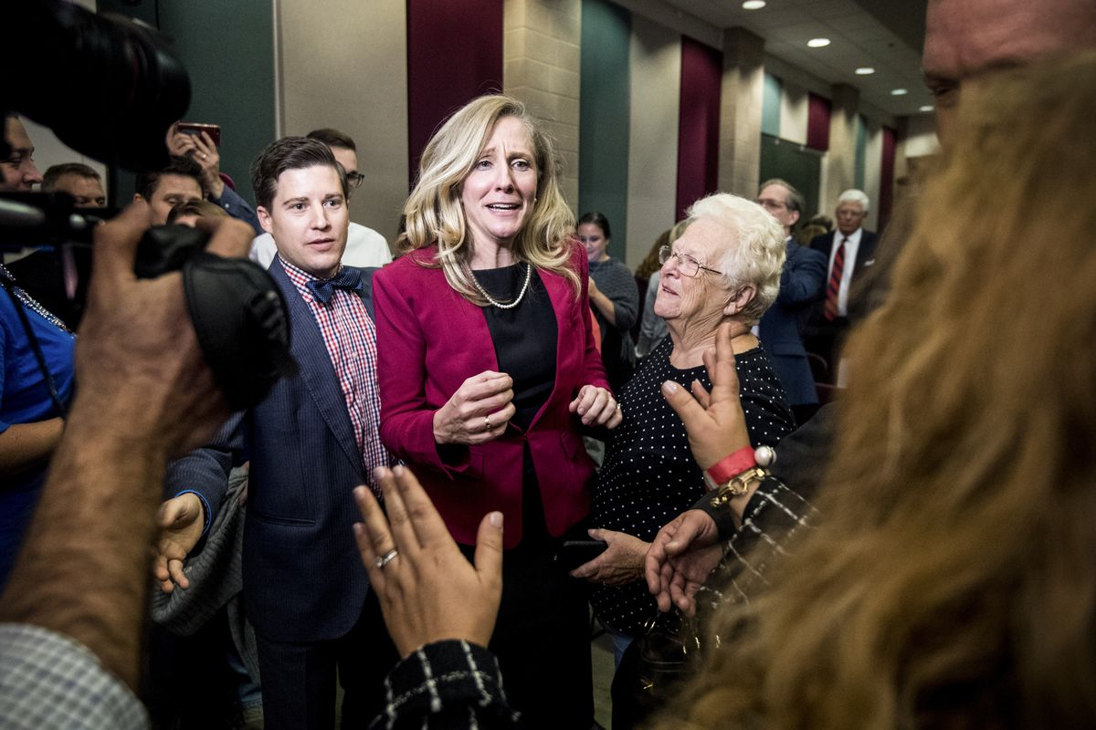 Abigail Spanberger, Democratic challenger to Rep. Dave Brat, R-Va., speaks with supporters after the Virginia 7th Congressional district debate in Culpeper, Va., on October 15, 2018.