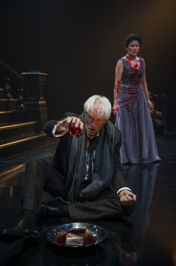 """Gary Wingert plays a member of the Chorus and Sandra Marquez plays Clytemnestra in the Court Theatre production of """"Agamemnon."""" (Photo: Michael Brosilow)"""