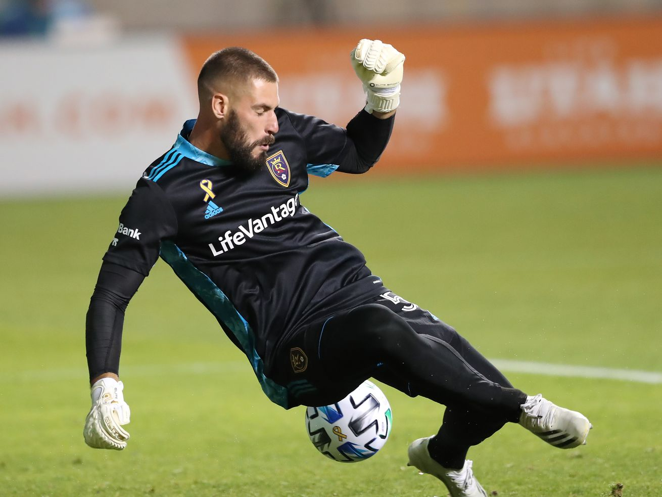 Real Salt Lake goalkeeper Andrew Putna (51) deflects a shot as Real Salt Lake and Seattle play an MSL soccer game at Rio Tinto Stadium in Sandy Utah on Wednesday, Sept. 2, 2020. The two teams battled to a 2-2 draw.