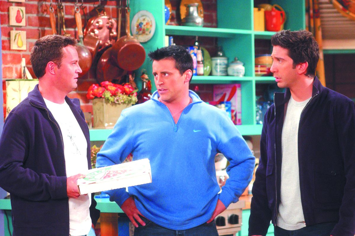"""FRIENDS — NBC Series — """"The One With The Male Nanny"""" — 200th Episode — Pictured: (l-r) Matthew Perry as Chandler Bing, Matt LeBlanc as Joey Tribbiani, David Schwimmer as Ross Geller — Warner Bros. Photo: Danny Feld for NBC Airdate: Thursday, November"""