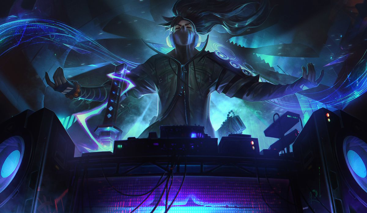 True Damage Yasuo stands and poses triumphantly behind a DJ booth