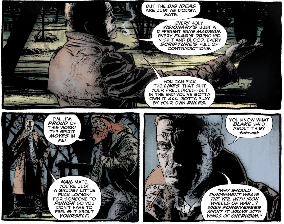 John Constantine explains to a possessed homeless criminal that he's got to stop cherry picking Blake quotes to support his racism, in John Constantine: Hellblazer #3, DC Comics (2020).