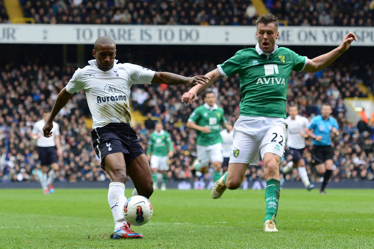 Jermain Defoe of Spurs scores their first goal during the Barclays Premier League match between Tottenham Hotspur and Norwich City.  (Photo by Shaun Botterill/Getty Images)