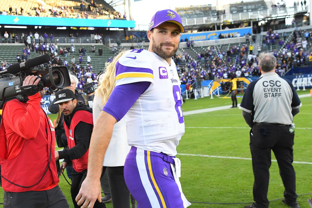 Quarterback Kirk Cousins of the Minnesota Vikings leaves the field after the game against the Los Angeles Chargers at Dignity Health Sports Park on December 15, 2019 in Carson, California.