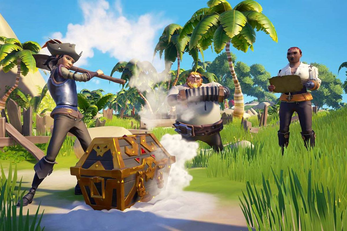 Sea of Thieves - a crew of pirates play music around a treasure chest they've just discovered