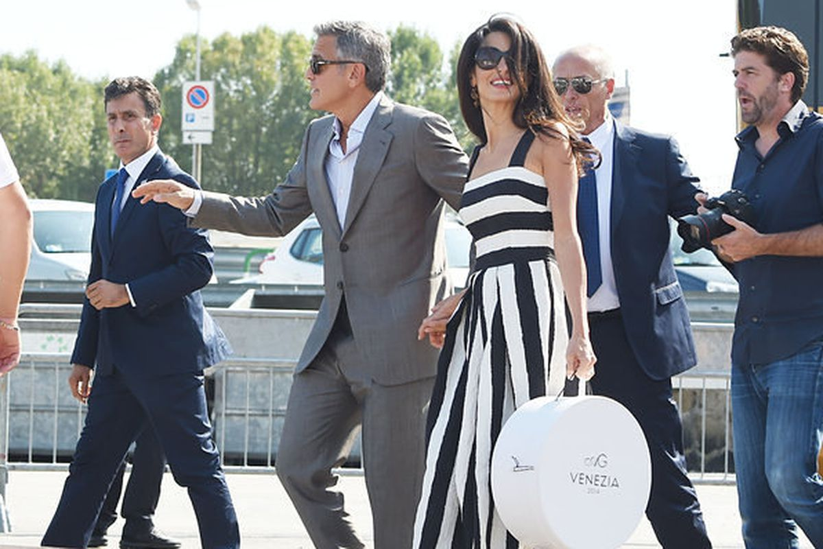 Casual boating with George Clooney and Amal Alamuddin in Venice. Photo via Getty